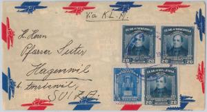 VENEZUELA -  POSTAL HISTORY -  AIRMAIL COVER to SWITZERLAND 1947 with KLM