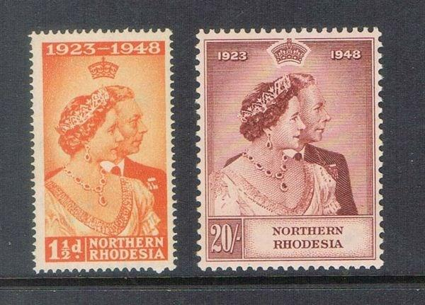 North Rhodesia 1948 SG 48-49 Silver Weeding set of 2 MNH