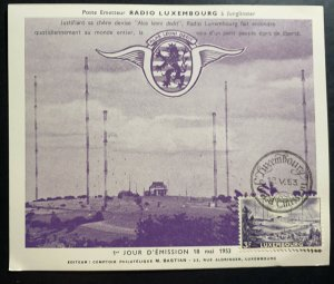 1953 Luxembourg Postcard First Day cover FDC Philatelic Exhibition Radio Station