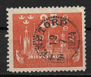 1924 Sweden 201 UPU Congress 25ore used small crease right upper corner