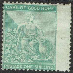 CAPE OF GOOD HOPE 1864 HOPE SEATED 1/- WMK CROWN CC