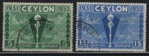 CEYLON, 315-316, USED, 1952, Colombo plan exhibition