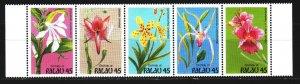 Palau. 1990. 361-65. Orchids, flowers, flora. MNH.
