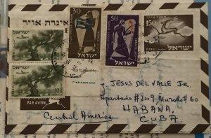 ISRAEL 1957. AEROGRAMME & SG#76 (2) +131+132. From Tel Aviv to  Habana. 22/12/57