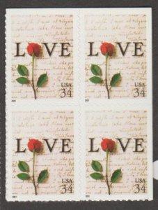 U.S. Scott #3497 Love Rose Booklet Stamps - Mint NH Block of 4