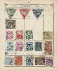 Latvia & Poland Stamps on Album Page ref R 18981