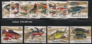1971 GUINEA Sc 570-81 MNH set of 12 FISH CV $18.00