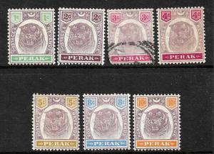 PERAK  1895-99  TIGER  SET TO 10c  M&U  SG 66/72