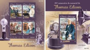 Thomas Edison Inventors Physics Science Sao Tome and Principe MNH stamp set