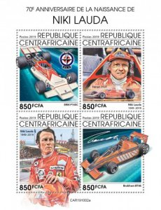 C A R - 2019 - Niki Lauda, 70th Birth Anniv - Perf 4v Sheet  - M N H