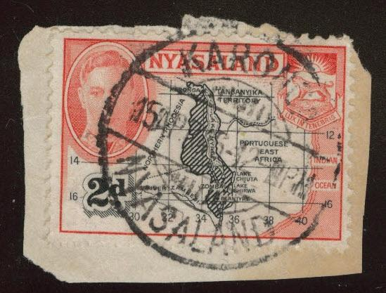 Nyasaland Protectorate Scott 71 Used on piece great cancel