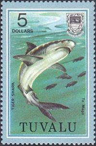 Tuvalu # 113 mnh ~ $5 Tiger Shark