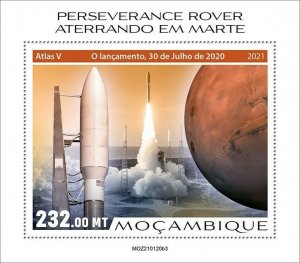 Mozambique 2021 MNH Space Stamps Perserverance Rover Mars Landing 1v S/S III