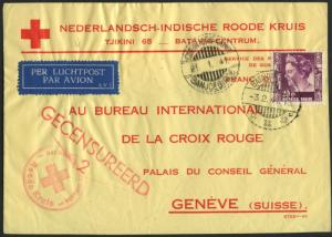 NETHERLANDS TO SWITZERLAND ON RED CROSS COVER 1941 BL1624