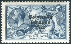 IRELAND-1925-8 10/- Dull Grey-Blue.  A lightly mounted mint example Sg 85
