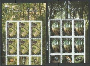 RM004 2011 ROMANIA FAUNA EUROPA PADURI FORESTS MICHEL 50 EURO #6522-23 2KB MNH