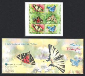 Moldova Butterflies and Moths 4v Booklet SG#455-458 SC#443b
