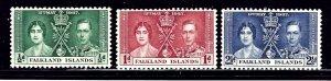 Falkland Is 81-83 MH 1937 KGVI Coronation    (ap1196)