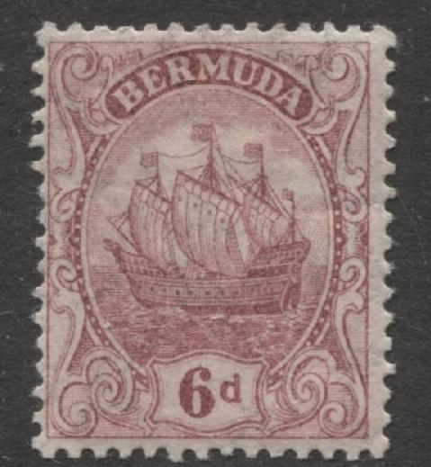 Bermuda - Scott 47 - Caravel - Wmk 3 -1924 - MLH -Single 6p Stamp