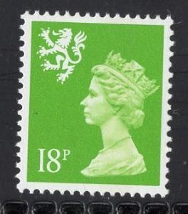 Great Britain Scotland  #SMH35  MNH Q E II  18 p 15 x 14 yellow green Machin