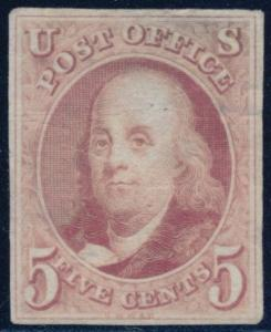 #1TC1a ROSE LAKE, DIE TRIAL COLOR PROOF ON INDIA CUT TO STAMP SZ CV $1000 BQ9857