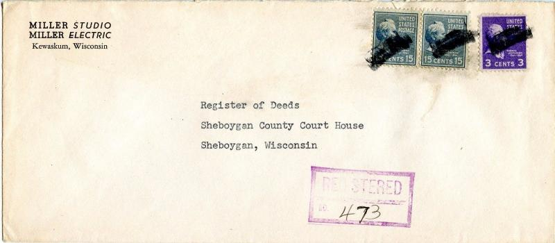 U.S. Scott 820 (2) and 807 Prexies On Registered 1952 Wisconsin Cover