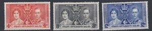 MALAYA  STRAITS SETTLEMENTS  1937  CORONATION SET  MH