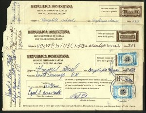 Dominican Republic 1991/2 trio of Registered covers with various rates, charges