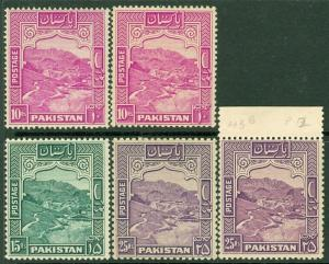 EDW1949SELL : PAKISTAN 1948-57 Sc #41, 43b VF MOG 41a, 42, 42a VF, MNH. Cat $154