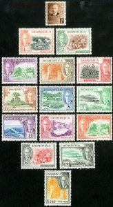 Dominica Stamps # 122-36 MLH VF Scott Value $56.85