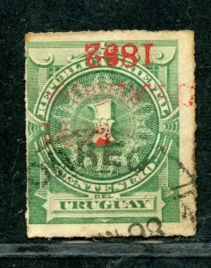 URUGUAY SCOTT# 98a INVERTED OVERPRINT FINELY USED AS SHOWN