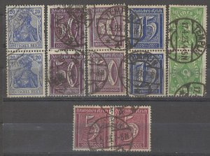 COLLECTION LOT # 4951 GERMANY 12 STAMPS IN PAIRS 1905+ CV+$23