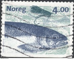 1999 NORWAY value: 4.00 Kr used stamp Atlantic Salmon BOTTOM straight-edge - fis