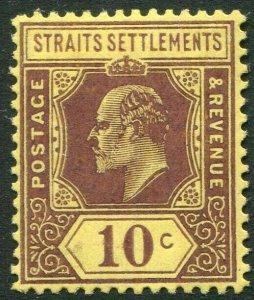 STRAITS SETTLEMENTS-1908 10c Purple/Yellow Sg 159 LIGHTLY MOUNTED MINT V50194