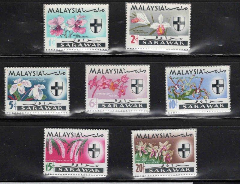 SARAWAK Scott 228-234 MH* Orchid stamp set