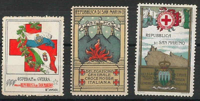 60960 - SAN MARINO -  VINTAGE LABELS Poster Stamps: ITALIAN RED CROSS - Set of 3