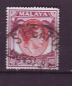 J22089 Jlstamps 1949-52 singapore used #16a perf 18 king