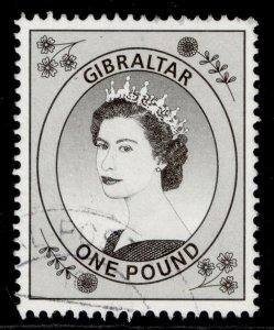 GIBRALTAR QEII SG869, 1999 £1 brownish black, FINE USED.