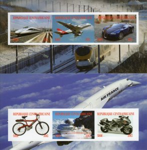 Central African 2012 Trains/Concorde/Ships/Bike Sheetlet (6) IMPERFORATED MNH