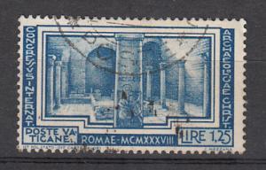 Vatican City SC# 60  1938 1.25L Basilica used  2015 SCV $ 29.00