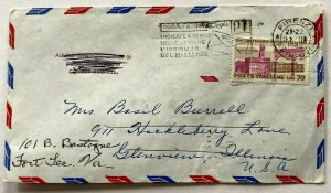 1962 airmail cover Florence IT to IL to VA redirect 70 lire stamp