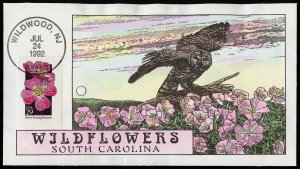 Collins Handpainted FDC Wildflowers: South Carolina Primrose, Owl (7/24/1992)