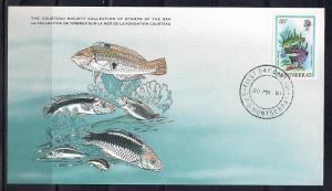 Montserrat FDC card Sc 450 Cousteau Society Clown Wrasse L72