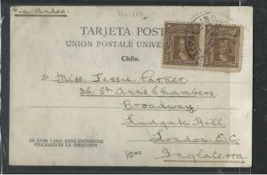 CHILE  (PP1104B)  1907  COLUMBUS 3C PR ON PPC TO ENGLAND
