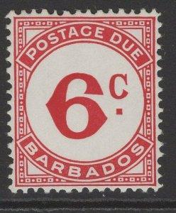 BARBADOS SGD9a 1968 6c CARMINE-RED POSTAGE DUE MNH