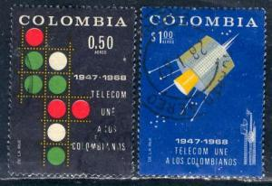 Colombia; 1968: Sc. # C498-C499: O/Used Cpl. Set