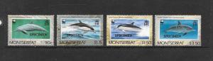 WWF - MONTSERRAT-DOLPHINS #753-756(specimen overprint)  MNH