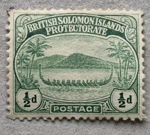 Solomon Islands 1908 1/2p War Canoe, unused, small spot.  Scott 8, CV $1.60
