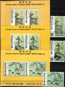 Korea #787-9, 787a-789a  MNH CV $36.00 (K2897L)