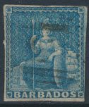 Barbados SG 9 SC# 6a  Used Pale Blue 3+ margins please see scans and details